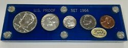 1964 Us Mint Silver Proof Set Gem Coins W/accent Hair 50c In Capital Holder