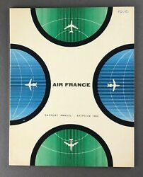 Air France Airline Annual Report 1960 Route Map Boeing