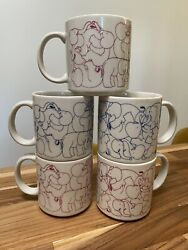 Set Of 5 Pink + Blue Vintage Taylor And Ng 1984 Sex Orgy Naughty Elephant Mugs