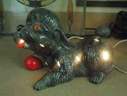 Vintage Kitschy Poodle W/red Ball Ceramic Night Light Tv Lamp Works