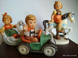 3 Hummel Figurines Beep Beep - Swan Chariot - Up And Down Carousel 2291/a/b/c Mint