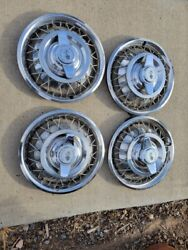 4 Nice 1962 / 64 Chevrolet Chevy Ii And Corvair  Spoke Spinner Hubcaps