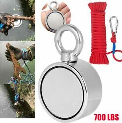 700lbs Pulling Force Double Sided Fishing Magnet Strong Neodymium+rope+carabiner