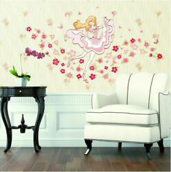 Removable Flowers Dancing Girl Wall Sticker Mural Wall Decal Home Room Decor EH