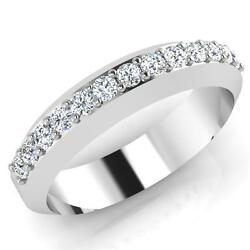 0.39 Ct Mens Diamond Ring Solid 14k White Gold Wedding Bands Size 9.5 10 11 12