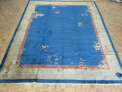 12 X 14 Hand Knotted Blue Antique Oriental Rug Chinese Art Deco Rug G10992