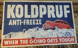 Cities Services Vintage Banner Koldpruf Sign Rare Large Canvas 36inx56in