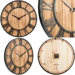 Oldtown Farmhouse Metal And Solid Wood Noiseless Wall Clock Wood 24-inch