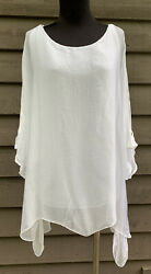 Lola Made In Italy White Size L/xl 100 Silk Crepe De Chine Lace Lined Nwt