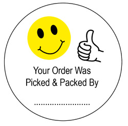 Your Order Was Picked And Packed By - Packing Stickers / Labels 45mm Circles