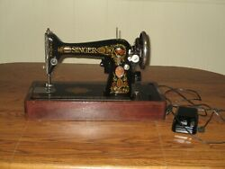 Antique 1920 Singer Red Eye Model 66 Electric Sewing Machine In Bentwood Case
