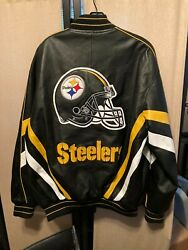 Nfl Pittsburgh Steelers Carl Banks G-iii Leather Jacket,size Medium Excellent