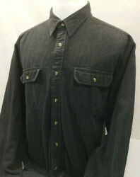 Guide Series Charcoal Denim Jeans L/s Button Front Hiking Camping Shirt Mens Xlt