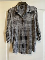Pure Amici Button Front Knit Blouse Or Shirt - Size Large - Retail 168