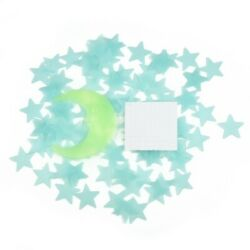 Bedroom Stickers Decor Gift 3D Stars and Moon In The Dark Plastic Kids