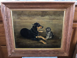 """Signed Oil Painting 25x21.5"""" Ginnie Crozier Otis Dog 1965"""