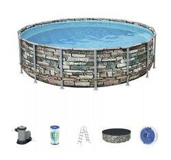 Bestway Power Steel Frame 16and039 X 48and039and039 Round Above Ground Swimming Pool Set