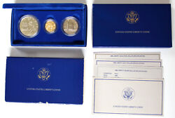 1986 Us Statue Of Liberty 3 Coin Commemorative Proof Set Gold Silver Clad Ogp