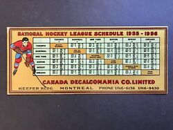 19555-56 National Hockey League Schedule Montreal Stanley Cup Winners Blotter