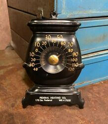 Old Federal Heating Co. Wood Stove Shaped Tin Thermometer