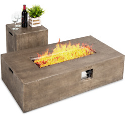 Rustic Wood Look Fire Pit Table With Tank Cover Glass Rocks Patio Outdoor Yard