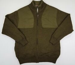 Orvis Menand039s Wool Shooting Jacket Full Zip Size M Lined Sweater Olive Green B36