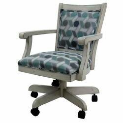 Tobias Designs Mango 37 Wood Caster Chair With Wheels In Camber Seaglass Green