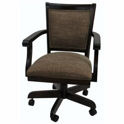 Tobias Designs Mango 37 Wood Caster Chair With Wheels In Checkered/walnut