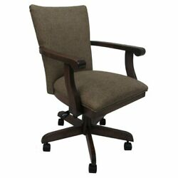 Tobias Designs Mango 37 Wood Caster Chair With Wheels In Spotted Brown