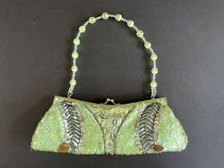 Green Beaded Sequin Seed Beads Evening Bag Clutch Wedding Party Purse Ellea NYC $15.00