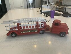 Vintage 1950and039s Buddy L Aerial Ladder Fire Truck Approximately 28andrdquo Inches Long