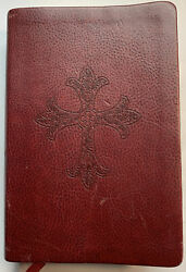 Ncv Compact Center Column Reference Bible Burgundy With Cross G+ Clean