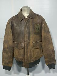 Vintage 80's Distressed Leather A2 Painted Bomber Jacket Size M