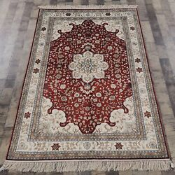 Yilong 4'x6' Red Handmade Silk Carpet Red Oriental Traditional Area Rug Y185b