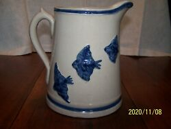 Antique Blue And White Pottery Stoneware 8.5 Pitcher 3 Birds Each Side Ex