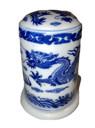 """Chinese Blue And White Dragon Porcelain Toothpick Holder Trinket Box 2x3"""""""