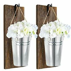 Hooqict 2pack Galvanized Metal Wall Planter Farmhouse Hanging Wall Vase with ...