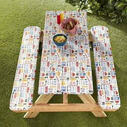3-piece Picnic Table-bench Covers, Elastic Edges, Peva, Easy Cleaning, Bbq