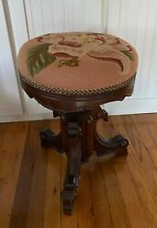 Antique Victorian Carved Adjustable Piano Stool W Embroidered Needlepoint Seat