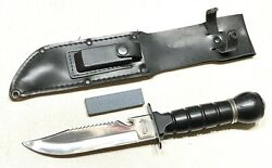 Vintage Taiwan Stainless Green Beret Army Gadget Fixed Blade Dagger Knife Sheath