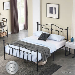 Metal Bed Frame Queen Farmhouse Black Iron Rustic Vintage Modern Country Style
