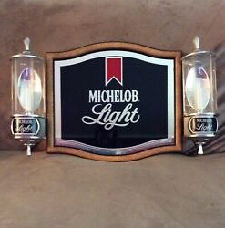 Vintage 1984 Michelob Light Beer Sign With Two Lighted Sconces