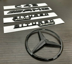 For Mercedes Emblem Star Boot Trunk C43 Coupe Amg Biturbo 4matic Glossy Black