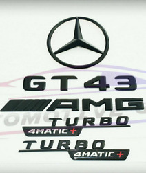 For Mercedes Emblem Star Boot Trunk Gt43 Amg Turbo 4matic+ Glossy Black X290