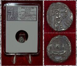 Ancient Coin Phoenicia Sidon War Galley King With Arrow Silver 1/16 Shekel