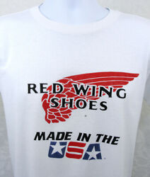 Vintage 80s Red Wing Shoes Made In Usa T Shirt Mens Size Xl Single Stitch White