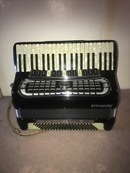 Stradavox Black With Pearl Keys Piano Accordion Made In Italy