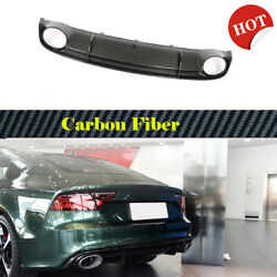 Rear Bumper Diffuser Lip Body Kit Fit For Audi Rs7 2014-2016 Dry Carbon Parts