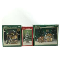 Set Of 3 Dickens Collectables Christmas Decorations Tree Bed And Breakfast Shoppe