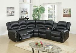 New Arm Loveseat W Console Recliner And Corner Wedge 3pc Motion Sectional Stylish